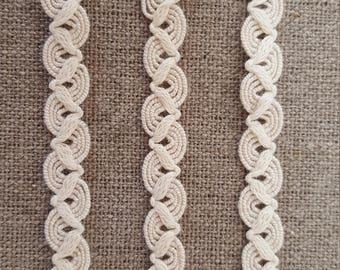 2m Unusual COTTON BRAID TRIM edging 10mm. Perfect for crafts,  scrapbooking,  card making.
