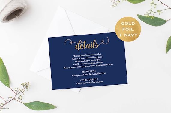 Wedding Details Card Template