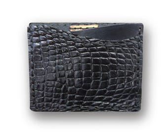 GENUINE ALLIGATOR Credit Card Wallet (Black)