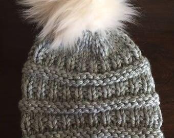 Mint Gray Knit Hat