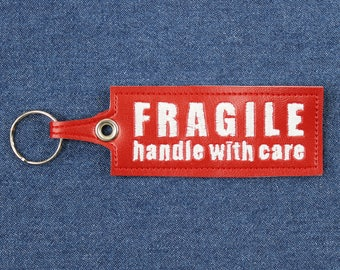 """Fragile: Handle With Care Keychain – 5"""" x 1.5"""" Spoonie Keychain –Chronic Illness Keychain –Handle With Care Key Ring –Vegan Leather Keychain"""