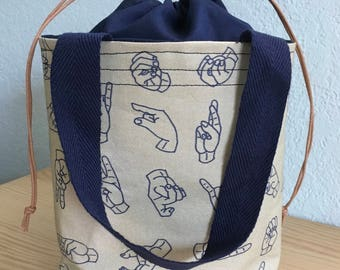 American Sign Language Lunch Tote/Bucket Bag with Drawstring Closure