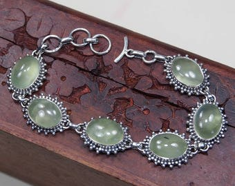 "Green Prehnite Bracelet, 925 Sterling Silver,Genuine Natural Prehnite Jewelry,Gift for her,FINE jewelry Party Birthday Gift 7 1/2"" S989"