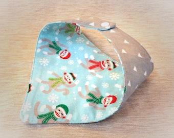 Sock Monkey Baby, Sock Monkey Outfit, Sock Monkey Baby Clothes, Christmas Bandana, Christmas Baby Bib, Christmas Baby Boy, Baby Bandana Bib