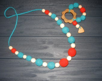 Crochet Nursing Necklace Teething Necklace Breastfeeding jewelry baby shower gift