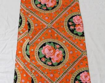 "Vintage Retro Orange Floral Cotton Table Runner Fringe - 65"" x 14"" - 1960s/1970s"