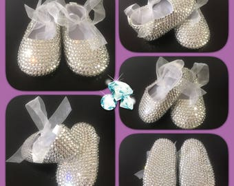 Crystal Baby Shoes, Baby Ballerina Shoes, Christening Shoes, Crystal Shoes, Rhinestone Shoes