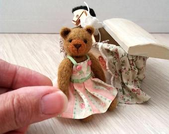 Fleur Bear - kawaii, small bear,artist bear, miniature bear, vintage bear, dollhouse bear, tiny bear, art bear, teddy bear, Blythe