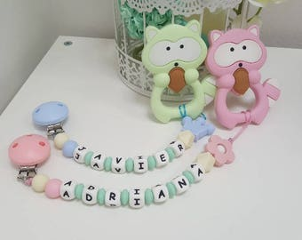 Personalised silicone pacifier clip and teether