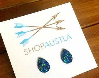 Tear Drop Druzy Earrings - Blue