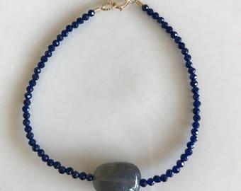 Sapphire bracelet with labradorite