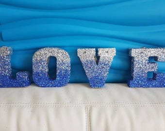 Glitter Marquee Letters, Light up Letters, Love marquee, Blue Silver Decor, Wedding Decor, Sweetheart Table, Head Table Decor, Blue Ombre