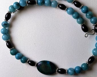 Teal Long Necklace w/ Teal Marble Oval