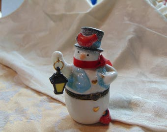 Midwest of Cannon Falls  glittery Snowman with MATCHES trinket