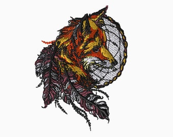 5x7 Embroidery File: Fox and Dreamcatcher, Choose Your Size and Format
