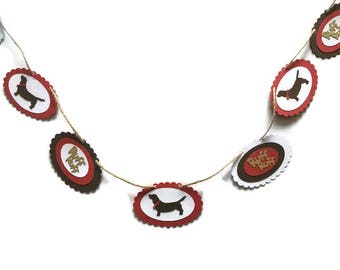 Sausage dog Dachshund paper banner garland bunting brown red white gold CUSTOM colour available DIY party decor,birthday,room decor