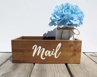 Rustic Mail Box Holder With Hydrangea-Mail Organizer-Rustic Home Decor-Housewarming Gift-Rustic Mail Holder- Wooden Mail Organizer