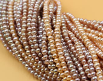 Freshwater Pearls Oval pearl Natural Purple / Champagne Gold loose pearl 5 - 6 mm 15'' Full Strand