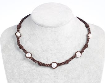 Leather Pearl Necklace - Pearl and Leather Necklace - White Pearl Necklace - Leather Necklace - Family Necklace