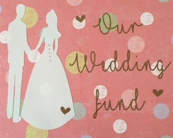 Wedding fund picture frame money box decal bride groom