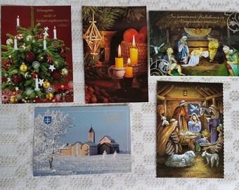 Set of five vintage  postcards, vintage art postcards, collectible postcard,  vintage souvenir for Christmas  with congratulation