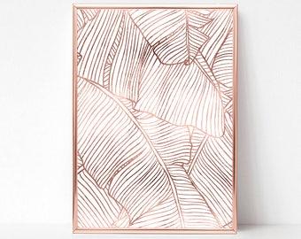 Printable Banana Leaf Wall Art, Pink Gold Wall Art, Banana Leaf Decor, Rose Gold Poster, Printable Palm Leaf Wall Decor, Banana Leaf Print