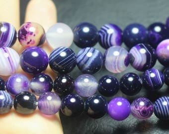 6mm 8mm 10mm 12mm Purple Striped Agate Round Beads,Purple Agate beads,Smooth beads,15 inch Full Strand