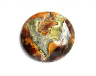 Ammonite-simbircite with silver pyrite geode cabochon  48х48х3 mm