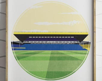 Leeds United, Elland Road Illustrated Print, Football Art, Soccer Wall Decal, Football Gift, Football Poster, Boyfriend Gift, Gifts for Him,