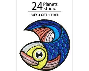 Japanese Carp Fish Iron on Patch by 24PlanetsStudio