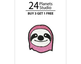 Mini Pink Sloth Iron on Patch by 24PlanetsStudio