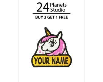 "Mini Unicorn#102 ""Your Name"" Iron on Patch by 24PlanetsStudio"