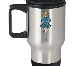 Irish Step Dancing Girl in Traditional Attire Graces Insulated Stainless Steel Travel Coffee Mug With Lid