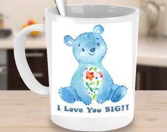 I LOVE YOU Mug! Watercolor Teddy Bear Floral Birthday Christmas Valentine's Day Mother's Day Anniversary Coffee Lover Mug Gift