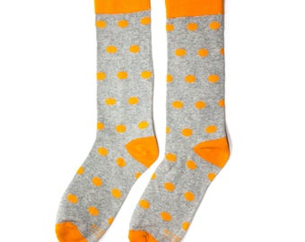 Groomsmen Socks | Orange and Grey Polka Dot  Socks | Wedding Day Socks | Groomsmen Gifts | Groomsmen Proposal Idea | Men's Socks | Fun Socks