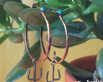 Bronze and Silver Hoops with Turquoise and Silver Cactus Drop