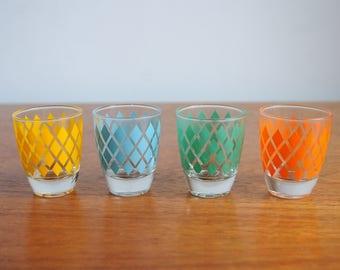 Set of Four French Retro 1960's Shot Glasses with diamond detail.