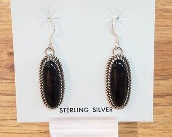 Navajo handmade Black Onyx Sterling Silver earrings
