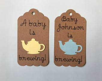 A Baby is Brewing Tags - Baby Shower Favor Tags - Tea Party Baby Shower - Baby is Brewing Baby Shower - Boy Baby Shower - Girl Baby Shower