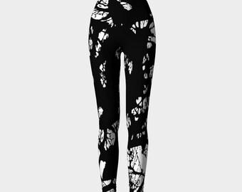 Black and White Printed Leggings, Entangled branches Leggings, Women's Leggings, Yoga Pants, Leggings, Yoga Leggings, Gift for her
