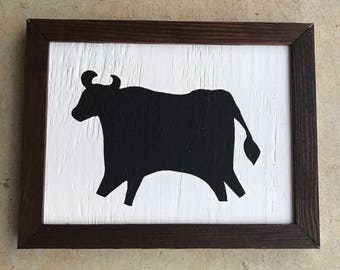 Rustic Wooden Cow Sign