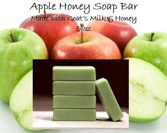 Goats Milk Soap Bar; Honey Soap Bar; Goats Milk and Honey; Apple Soap Bar; 5 oz Soap Bar; Apple Honey soap bar