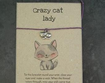 Make a wish bracelet - cat bracelet - crazy cat lady - cat or heart charm bracelet