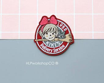 KIKI'S DELIVERY SERVICE -- Handmade Embroidered Patch Brooches Pins/Fabric Badge/Iron-On Patches/Witch/Anime/Movie/Japan