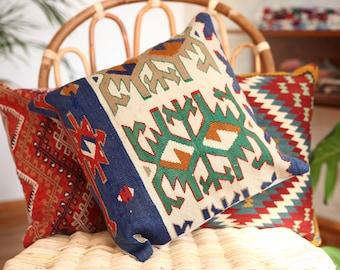 "Anatolian Vintage Kilim Cushion Pillow. 16"" x 16""."