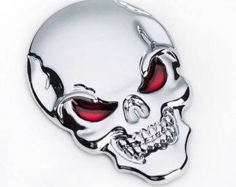 3D Skull Metal Skeleton  Head Decal/Sticker