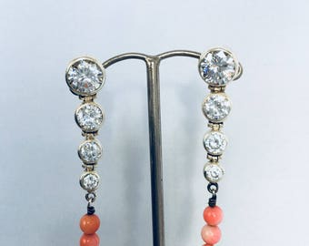 Silver 925 Crystal and coral earrings