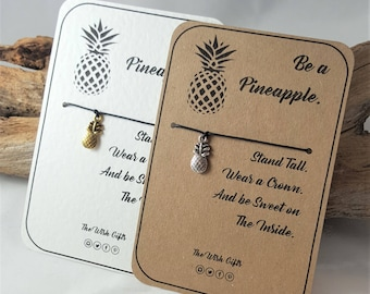 Be a Pineapple Wish Charm Bracelet, Anklet, Friendship, Luck,  Gift - Choice of Colours