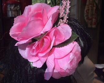 Pink Rose Hair Flower