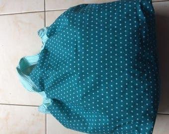 Small reversible handbag star, turquoise green dots